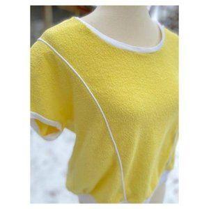 Vintage 70s Terry Cloth Top Shirt Scoop Neck Crop